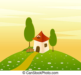 Landscape background with house