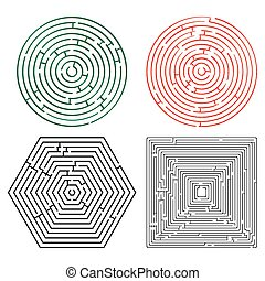 printable mazes collection against white background,...