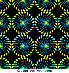 paper wind mill pattern black and yellow, vector art...
