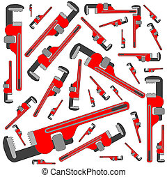 pipe wrench pattern, vector art illustration