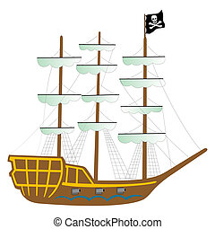 pirate ship isolated on white background, abstract vector...