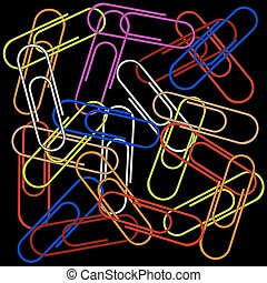 paper clips on black