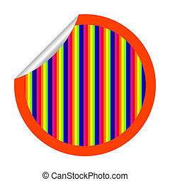 rainbow stripes sticker isolated on white