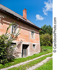 Old Country House - Front view of an old country house with...