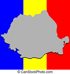 romanian map over national colors, abstract vector art...