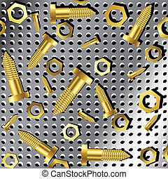 screws and nuts over metallic texture 2
