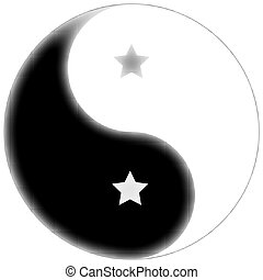 starred yin yang symbol, abstract unique vector art...