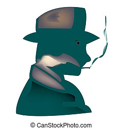 smoker - stylized smoker, vector art illustration; more...