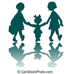 three little girls going to a walk - girls silhouettes,...
