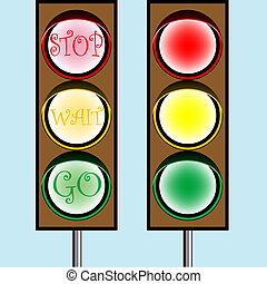 traffic lights cartoon, abstract vector art illustration