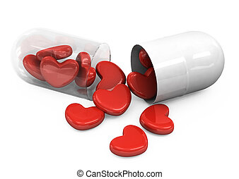 Heart Shape In Pills - pills laid out as a heart shape