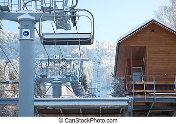 ski lift winter day