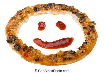 pizza on white macro