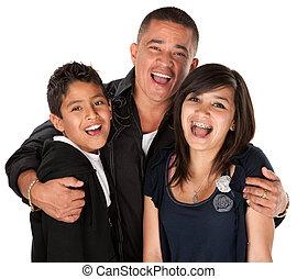 hispânico, pai, Abraçando, crianças