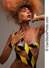 woman with fashionable hair - picture of woman with...