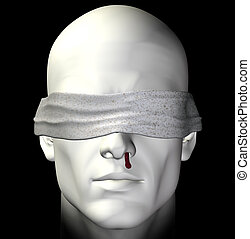 tortured man - Blindfolded tortured man with bleeding nose...