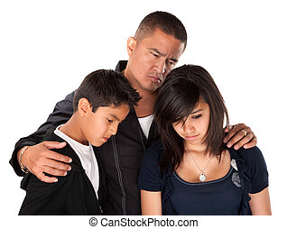 Father and Children Looking Sad - Hispanic father with kids...
