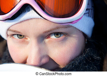 Young woman  winter day