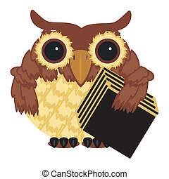 owl with big book