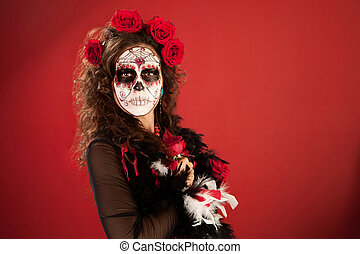 Rose Decked Lady - Rose bedecked lady posing in makeup for...