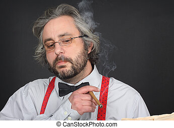 man smoking cigar - Bearded man with bow tie smoking cigar
