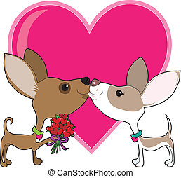 Chihuahua Love - A chihuahua is giving a bouquet of heart...
