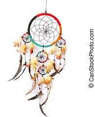 A red,green and black dreamcatcher isolated in white