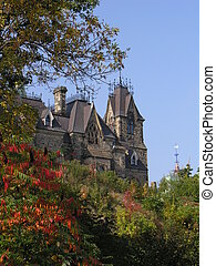 Parlimentary building in Ottawa Ontario during autumn