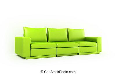 Green moder style sofa - Green modern sofa in white luminous...