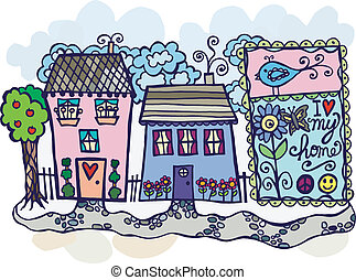 The neighborhood - Sweet illustration of homes on a...