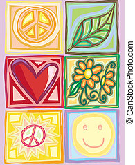 Bright Peace and Love Boxes - Boxes of nice images of peace,...