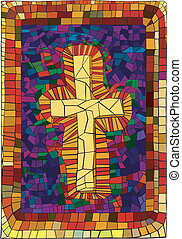 Stained Glass Cross - A pretty design featuring a stained...