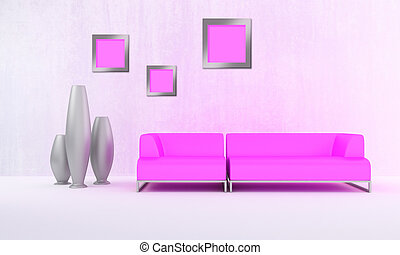 Pink moder style sofa