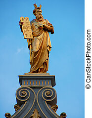 Moses statue with 10 commandments - Moses on strong footing...
