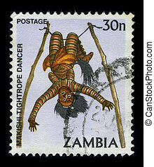 Postage stamp. - ZAMBIA-CIRCA 1980: A stamp dedicated to The...
