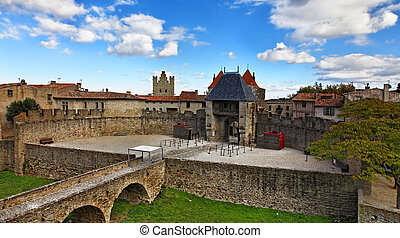Entrance in Carcassone fortified town