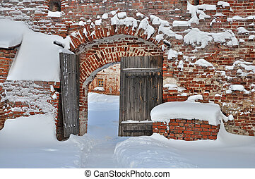 Old wooden gate in ancient russian monastery - Old wooden...