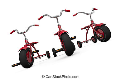 Three tricycles - Three red tricycles. 3D render