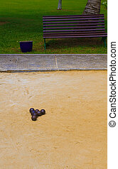 Bocce - A game of bocce set up ready for participants in the...