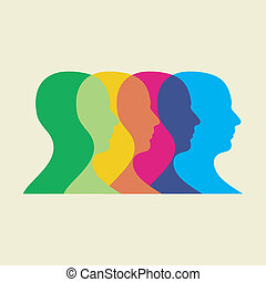 social interaction illustration - Multicolored human heads...
