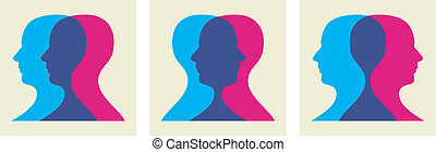 go social interaction - Two human heads interacting...