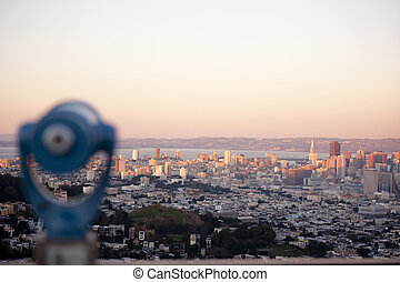 view of san francisco skyline from twin peaks - cityscape of...