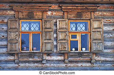 Two windows in old country house - Close up of two windows...