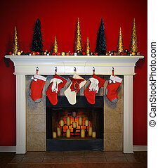 Christmas Fireplace - A Beautiful scene of a christmas...