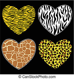 animalprint hearts - hearts with animal print in vector...