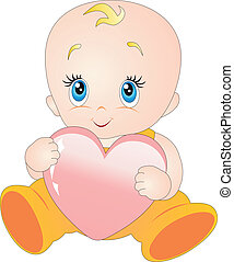 Baby with heart isolated on white background. Vector