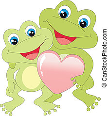 Frogs with heart isolated on white background. Vector