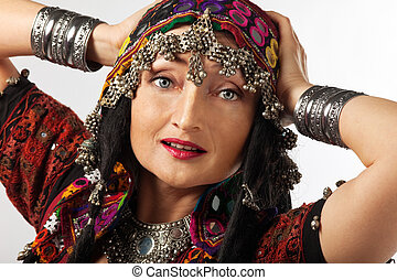 mature woman in traditional indian costume