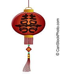 中国語, ダブル, 幸福, 結婚式, ランタン