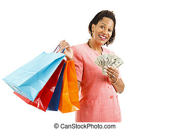Shopping - Big Spender - Beautiful African-american woman...